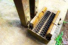 トレッキング入口の靴ぬぐい器具