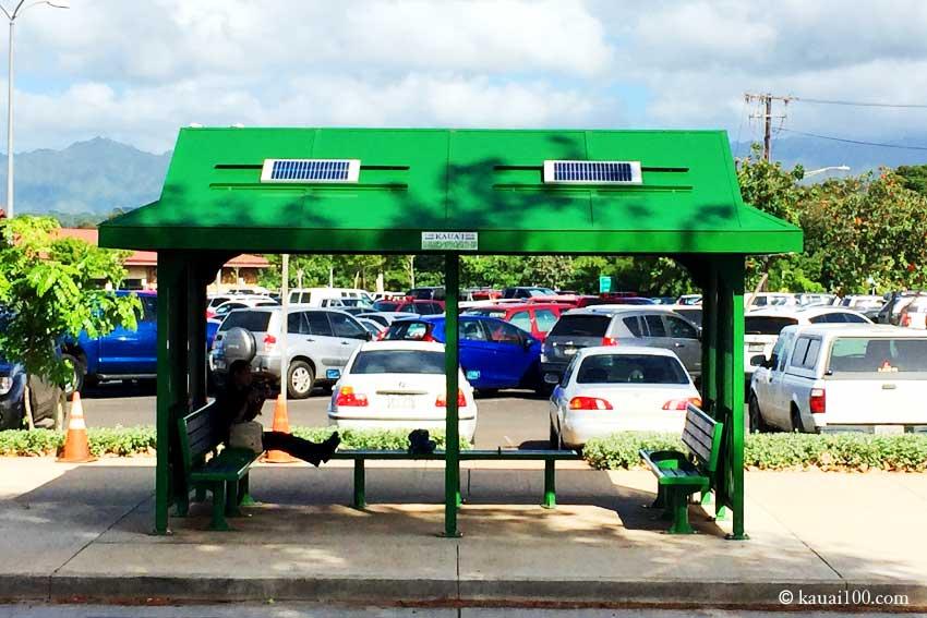 カウアイ島のバス停留場