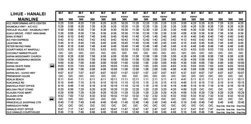 カウアイバス時刻表