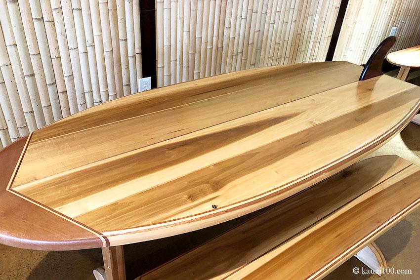 カウアイ島 ココナッツ・フィッシュ・カフェのテーブル