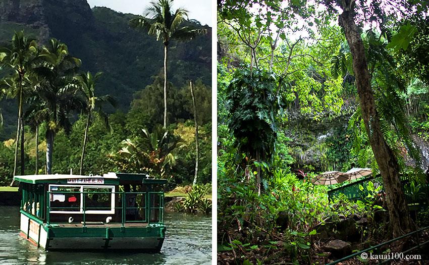シダの洞窟専用の遊覧船と観光用のデッキ