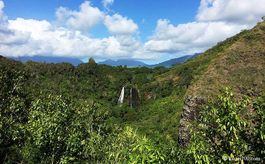 ハワイ・カウアイ島のオパエカアの滝