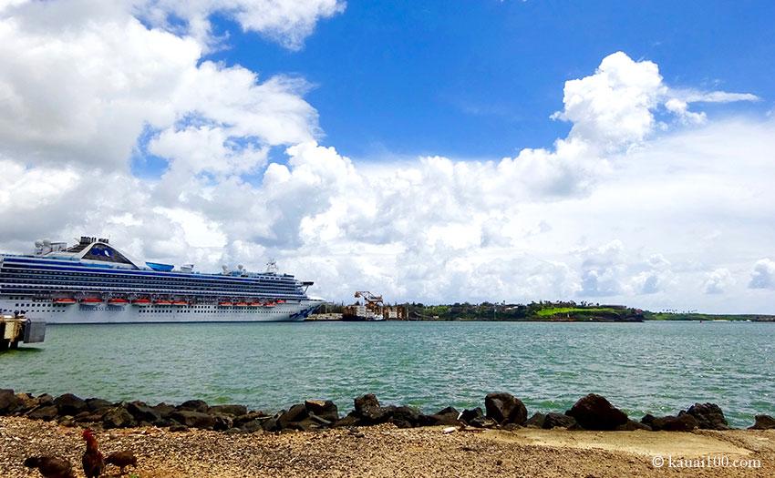 ナウィリウィリ港に停泊する大型客船