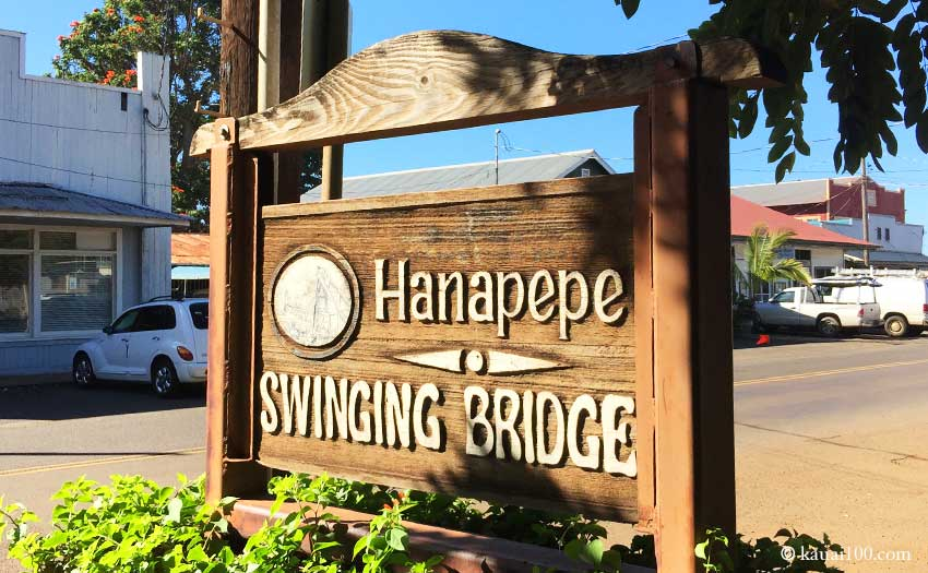 Hanapepe Swinging Bridgeの案内ボード